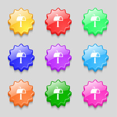 Mailbox icon sign. symbol on nine wavy colourful buttons. Vector