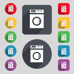 washing machine icon sign. A set of 12 colored buttons and a lon