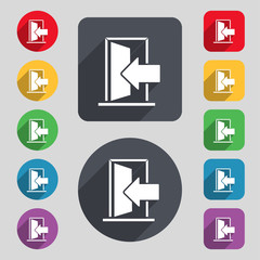 Door, Enter or exit icon sign. A set of 12 colored buttons and a