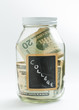 Glass Jar with chalk panel used for college expenses