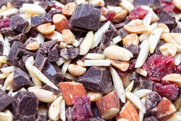 Nuts and chopped chocolate (closeup)
