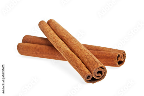 Fotobehang Spices Cinnamon isolated on white background