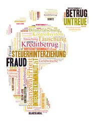 Fraud word cloud shaped as a feed