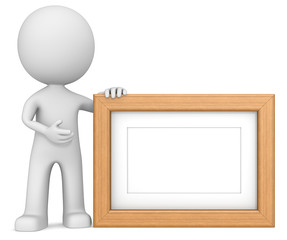 Wooden picture frame.The dude 3D character. Teak,Copy Space.