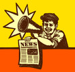 Vintage newspaper boy shouting latest news with megaphone - 80696876