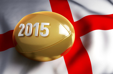 England 2015. Golden rugby ball on the English flag