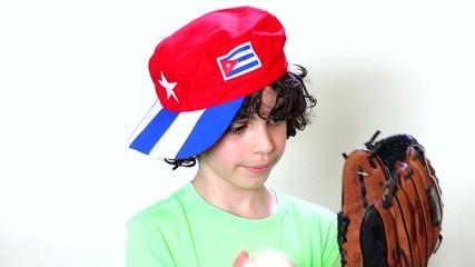 Child Wearing Cuban Flag Cap and Playing Baseball