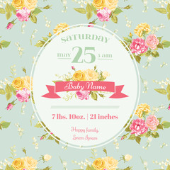 Baby Arrival or Shower Card - with Floral Blossom Design