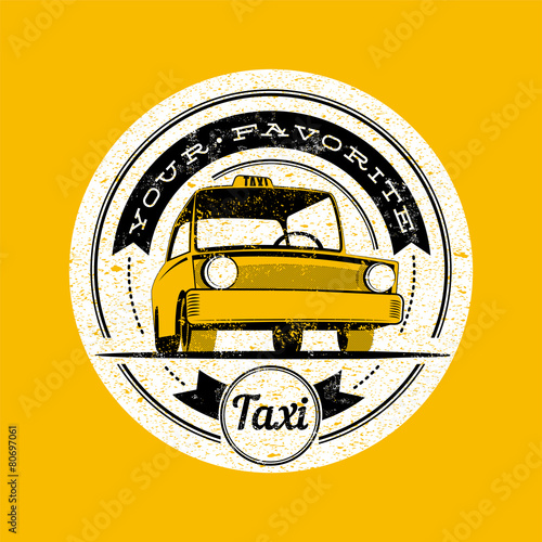 Taxi vector retro label. © zzooby