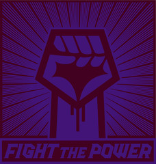 Fight the power! Hand with raised clenched fist