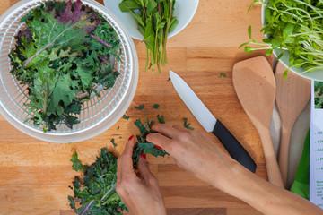 preparing organic vegetables kale