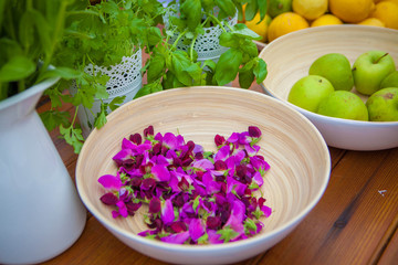 vegetarian food indredients with organic fruit and herbs