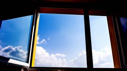 sky time lapse on window