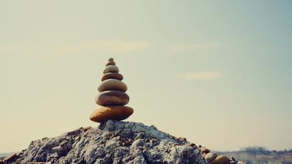 Stones balance, stability concept on rocks.