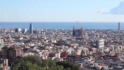 Skyline city Barcelona Sagrada Familia