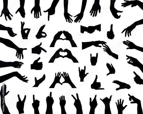 Silhouettes of hands, vector - 80698689