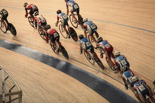 cyclists to ride fast in a curve  top view - 80698899