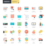 Set of modern flat design online shopping and e-commerce icons