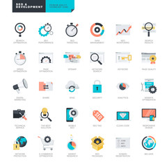 Set of modern flat design SEO and website development icons