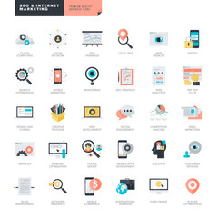 Set of modern flat design SEO and internet marketing icons
