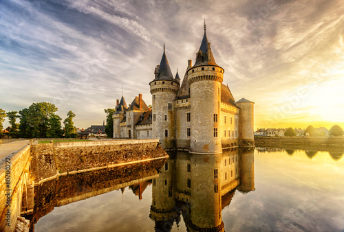 The chateau (castle) of Sully-sur-Loire at sunset, France
