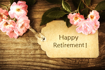 Happy Retirement message with small roses