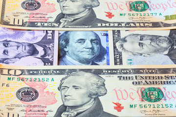Banknotes of dollars. Business background. Money, currency.