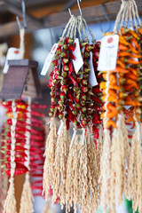 Dry chili peppers tied with straw rope