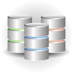 Cylinder Icons. HDD, Webhosting Concepts