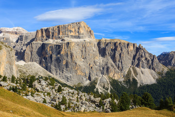 Autumn scenery on hiking trail in Dolomites Mountains, Italy