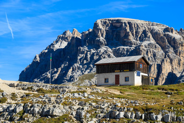 House in Tre Cime National Park, Dolomites Mountains, Italy