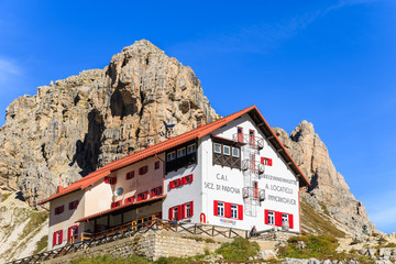 Refuge in Tre Cime National Park, Dolomites Mountains, Italy