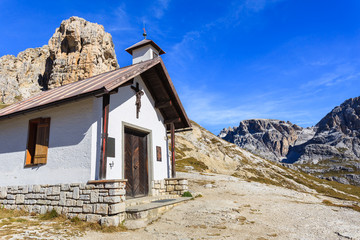Chapel in Tre Cime National Park, Dolomites Mountains, Italy