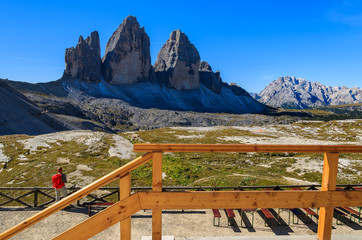 View of Tre Cime peaks in Dolomites Mountains, Italy