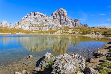 Beautiful lake in Tre Cime National Park, Dolomites Mountains