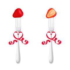 Forks with strawberries and ribbons