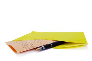 closeup of white envelope on white background