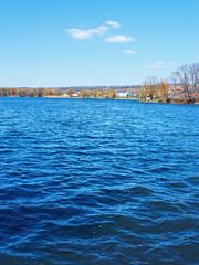 Big city reservoir at springtime