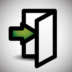 Simple Inside Or Outside Door Symbol, Sign With Green Arrow