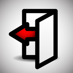 Simple Inside Or Outside Door Symbol, Sign With Red Arrow