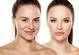 female face without and with makeup. Stock photo.