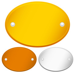 Blank Oval Gold, bronze and silver plaques with rivets