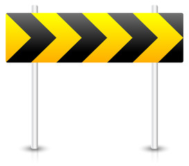 Road construction road sign. Roadblock, bypass, diversion, round