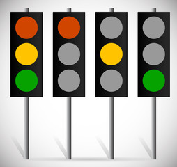 Traffic Lights, Lamps or Traffic Signals set. Red, Yellow, Green