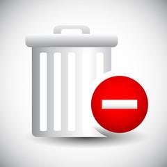 Trash Can Icon with Minus / Remove Sign. Delete, Remove.