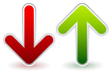 Red, Green Down and Up Arrows. Growth, Decline, Raise, Decrease.