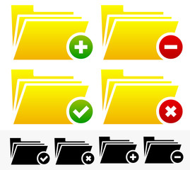 Folders with Different Symbols - Document Management Icons