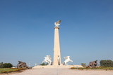 Statue with falcon and horses in Umm Al Quwain, UAE