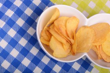 Close-up of fresh, crispy potato chips