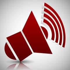Red 3D Speaker Icon